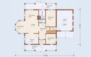 Проект дома 235,4 м.кв. (мансарда, гараж)