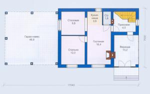 Проект дома 88,1 м.кв. (мансарда)