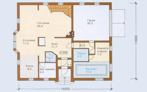 Проект дома 263,1 м.кв. (мансарда, гараж)